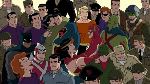 All the iconic heroes in their Golden and Silver Age costumes.