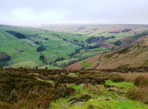 Close to the source of the Nidd is Scar House Reservoir, (hidden from view by the rise just above the image centre)