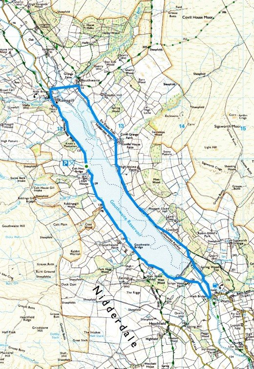 The Gouthwaite Recervoir walk route - might take you most of the day, so book a room ahead