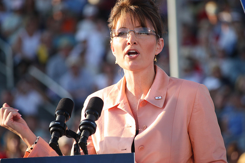 Sarah Palin at a McCain/Palin rally in Washington, Pennsylvania on August 30, 2008.  Source:  http://www.flickr.com/photos/jenngrover/2812297579/ courtesy of Wikimedia Commons