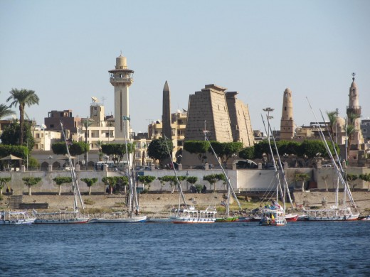 The old meets the new on the banks of the Nile