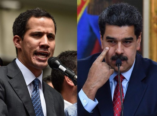 On the right is Nicolas Maduro. On the left is Juan Gerardo Guaidó Márquez, the current President of the National Assembly. He is challenging Maduro's presidency on the grounds it was fraudulently won.