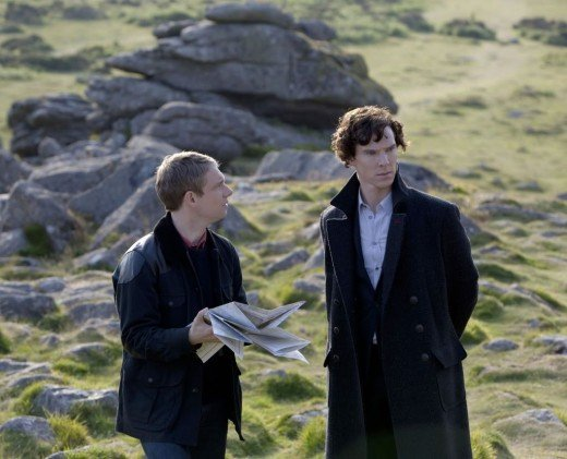 Watson and Holme investigating the Hound of Baskerville.