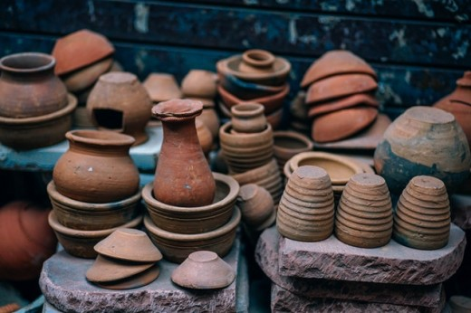 Clay pots for making the taco shells and traditional cazuelas