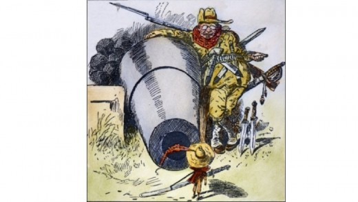 """1903 cartoon, """"Go Away, Little Man, and Don't Bother Me"""", depicts President Roosevelt intimidating Colombia to acquire the Canal Zone"""