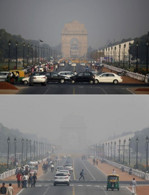 (Air Pollution before and after Diwali picture by The Times of India)