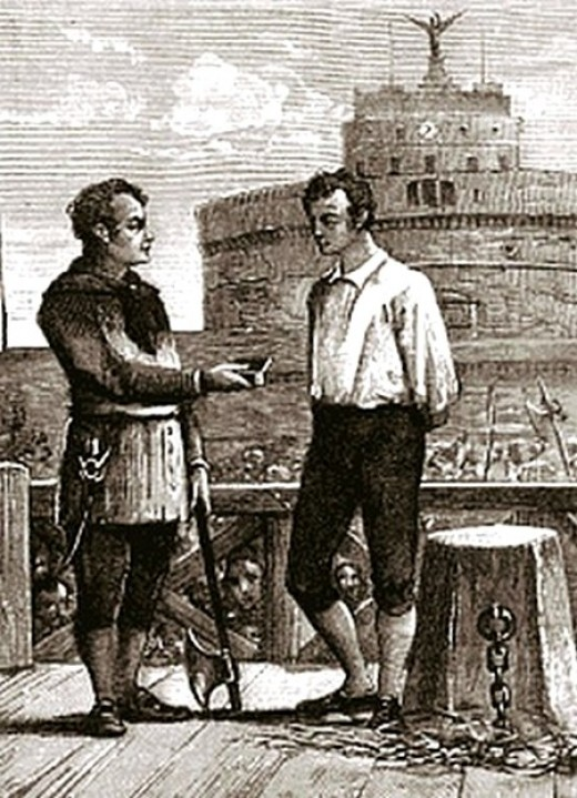 Executioner Bugatti offering snuff (tobacco) to a condemned prisoner in front of Castel Sant'Angelo.
