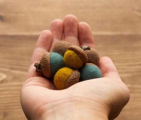 felted wool acorns mustard teal brown earthy natural colors
