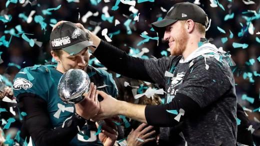 Former Eagles QB Nick Foles (L) and current Eagles QB Carson Wentz (R), celebrating their Super Bowl victory