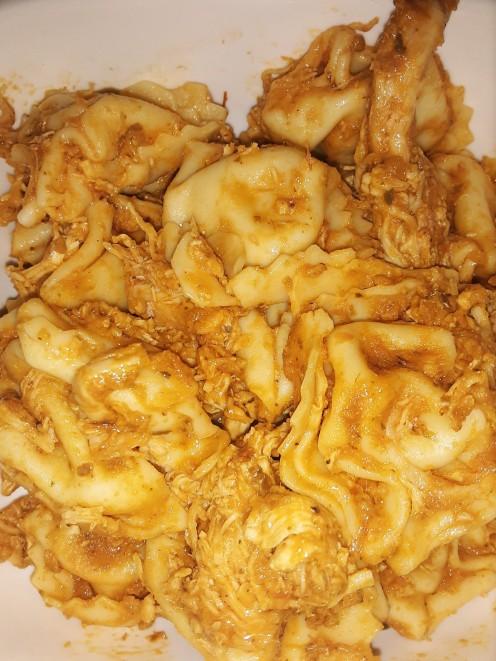 Roasted chicken and tortellini in homemade marinara sauce