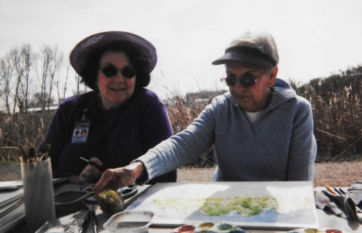 Me teaching an outdoor watercolor class for the elderly