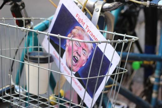 Newspaper Picture of Trump in a Bike Basket