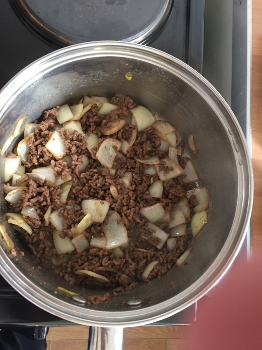 Brown the beef and soften the onions