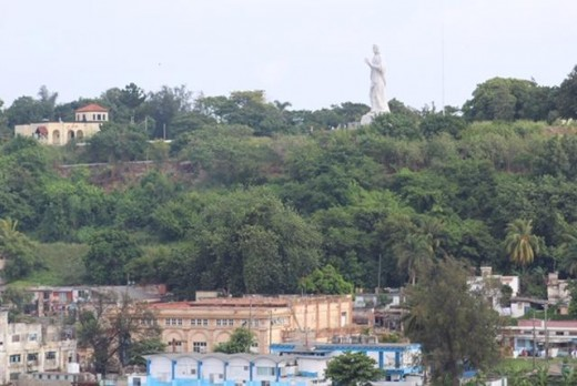 Cuban landscape with Estatua de Cristo in the background.