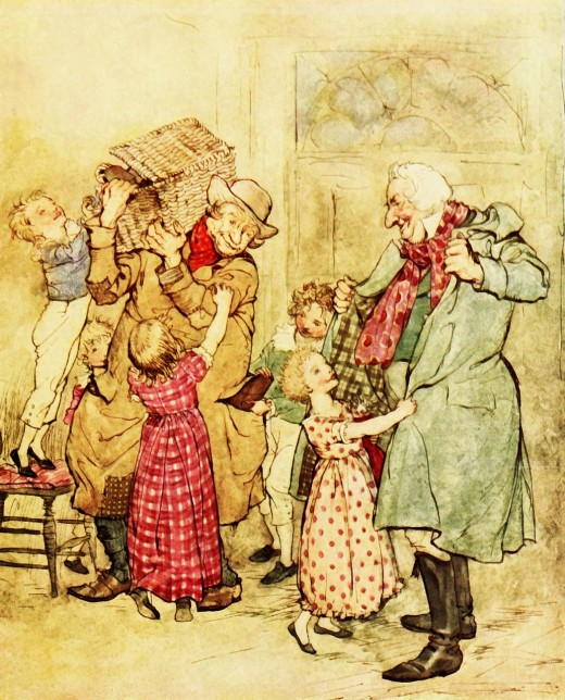 A Victorian era scene of children excited about the arrival of kind visitors bringing gifts.