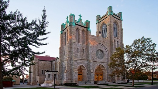 St. Mary Cathedral exterior, showing clean lines of Gothic Revival style