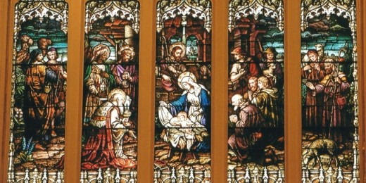 """Stained glass panels displaying """"Adoration of the Magi"""""""