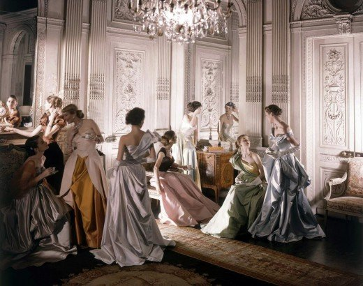 Cecil Beaton, Eight Charles James Ball Gowns, New York, 1948, Silver dye bleach print, Courtesy of Staley-Wise Gallery.