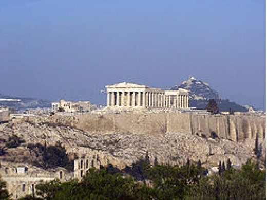Acropolis of Athens with the Parthenon on top (http://en.wikipedia.org/wiki/Athens)