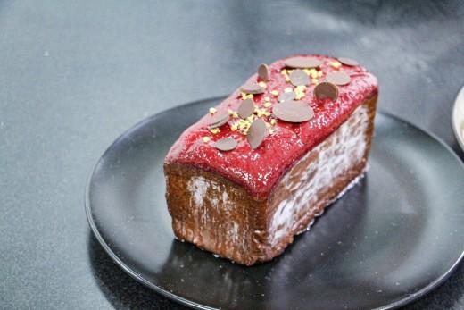 Raspberry chocolate pound cake. Finished!