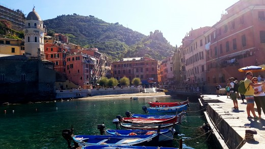 Vernazza, colorful fishing boats in the harbor