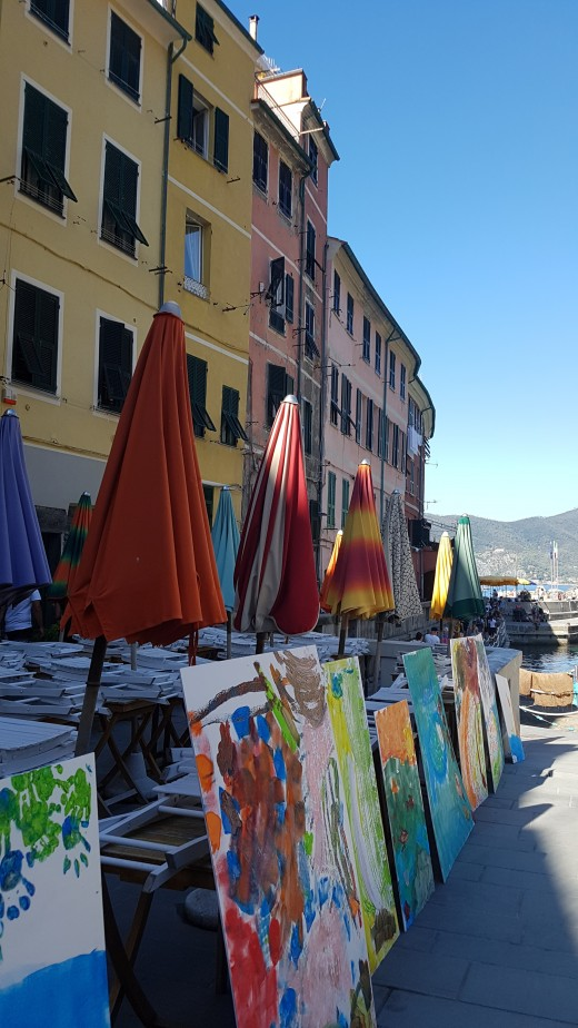 Paintings in The Piazza of Vernazza