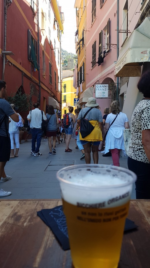 A glas of typical Ligurian Beer in Vernazza