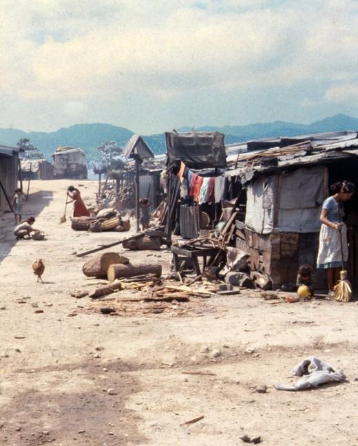 Refugee camp during Salvadoran Civil War.