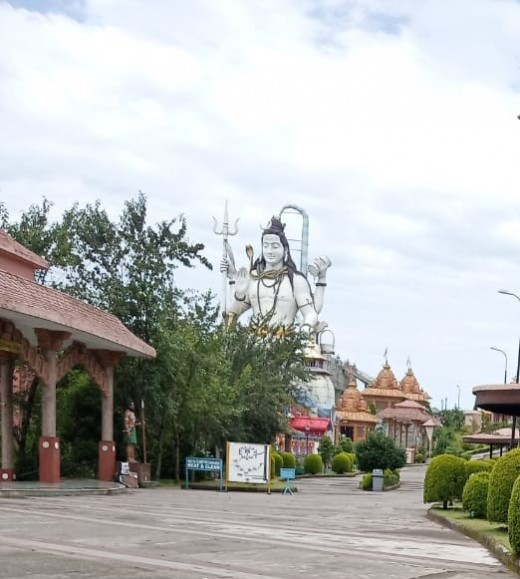 Replica of 4 Dhams (Hindu pilgrimage centers) and a high statue of Lord Shiva in the sitting position
