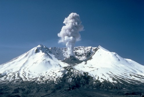 Mount St. Helens Volcano eruption. This photo also symbolizes what is on the album cover for this band's debut album.