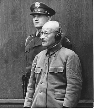 Japanese war-time leader Tojo under trial at the IMT.