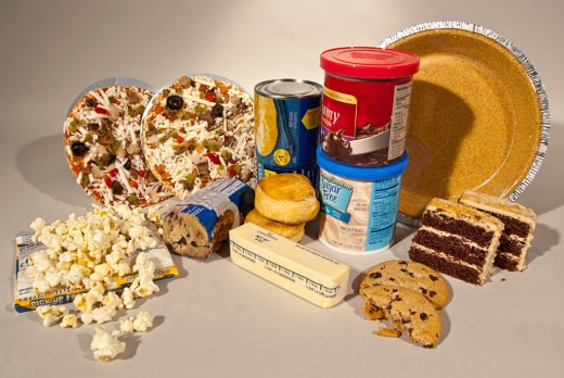 Processed foods, including frozen, canned and baked contain trans fat