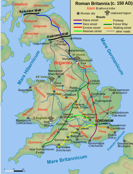 Roman roads in Britain around 150 AD. Attribution: Andrei Nacu