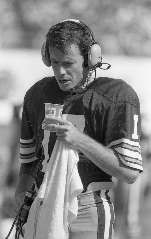 Browns quarterback Brian Sipe walks the sideline during the 1979 season. A year later, he'd be named the NFL's Most Valuable Player.