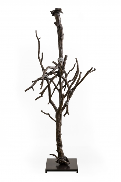 Sherry Owens, Embrace of Heaven and Earth, 2019, Cast bronze, patina, 88.50h x 41.50w x 38d inches