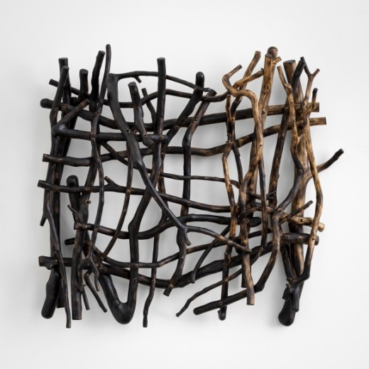 Sherry Owens, Abandoned Fields Adust 1, 2019, Crepe myrtle, oil, wax, 22.25h x 24.50w x 5.63d inches