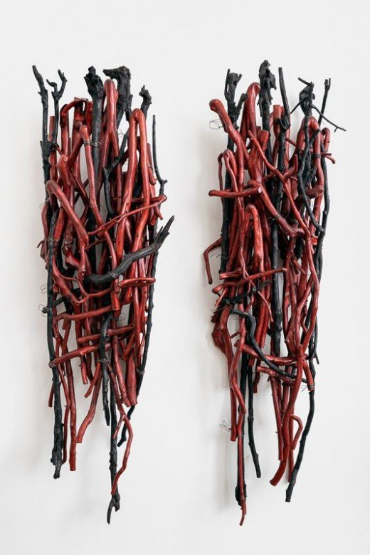 Sherry Owens, Guardians, 2019, Crepe myrtle, baling wire, dye, wax, 91h x 60w x 16.25d inches