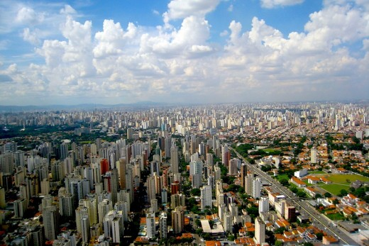 Sao Paulo,  largest city in the Americas and quite built up with construction...possibly too much so