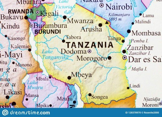 Map of Tanzania showing distance of Dodoma from coast