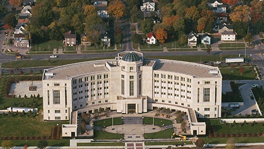 Michigan's Hall of Justice, western anchor of the Mall and the last state government building in Lansing
