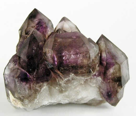 February's birthstone is amethyst. This is a double-terminated smoky amethyst cluster from Namibia.