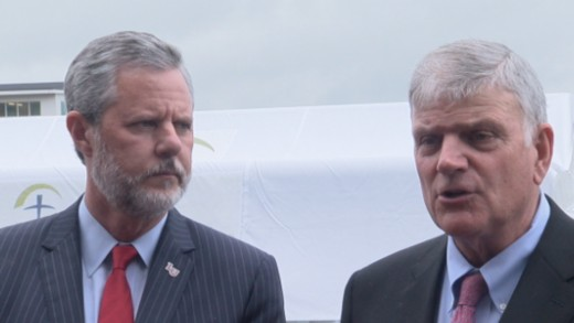 Evangelicals Jerry Falwell and Franklin Graham