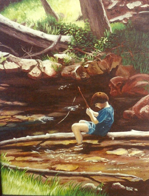Oil painting of the young fisherman.
