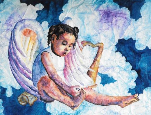 Watercolor Harpist Angel