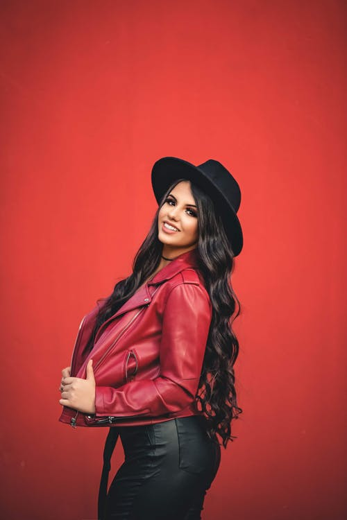 Fashion Photography: Woman in red jacket with black hat
