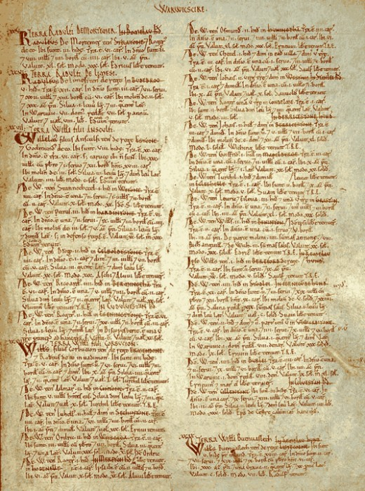An excerpt of The Domesday Book.