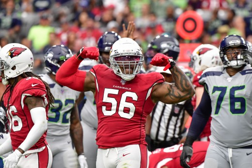 Arizona Cardinals outside linebacker, Terrell Suggs, celebrates after sacking Seattle Seahawks quarterback Russell Wilson during a game in 2019. The Seahawks are the most hated rival of the Cardinals.