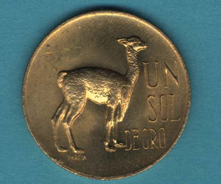 A Peruvian one soil coin with a llama