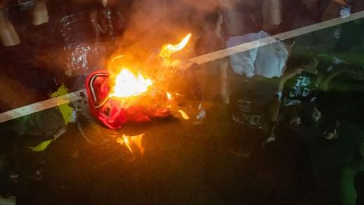Burning Lebron James Jerseys in Hong Kong