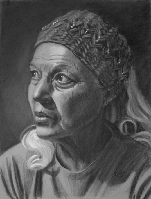 Charcoal portrait of my friend Lupe.